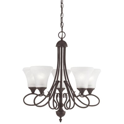 Elipse 5-Light Shaded Chandelier Finish: Painted Bronze