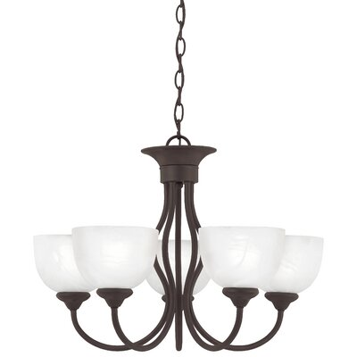 Clara 5-Light Shaded Chandelier Finish: Painted Bronze