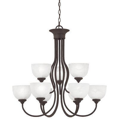 Clara 9-Light Shaded Chandelier Finish: Painted Bronze