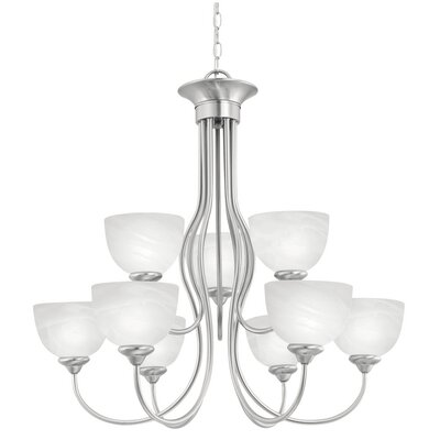 Clara 9-Light Shaded Chandelier Finish: Brushed Nickel