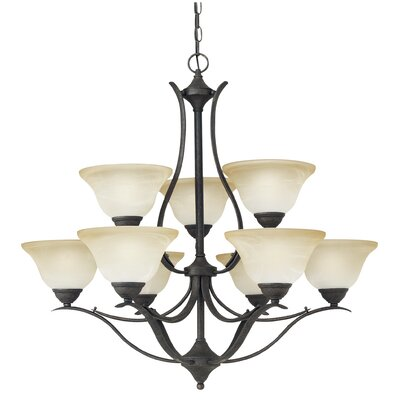 Prestige 9-Light Shaded Chandelier Finish: Sable Bronze