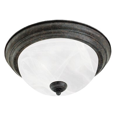 2-Light Alabaster Flush Mount