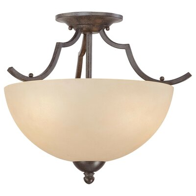 Triton 2-Light Semi Flush Mount Ceiling Light Finish: Sable Bronze