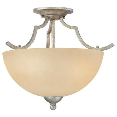 Triton 2-Light Semi Flush Mount Ceiling Light Finish: Moonlight Silver