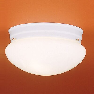 2-Light Glass Shade Flush Mount