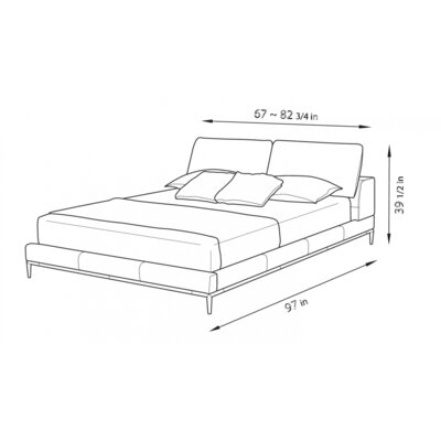 Contemporary Upholstered Platform Bed Size: Queen, Color: Gray