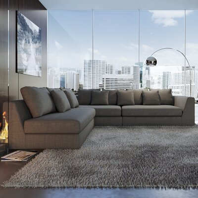 Sather Living Reversible Sectional Upholstery: Charcoal Gray