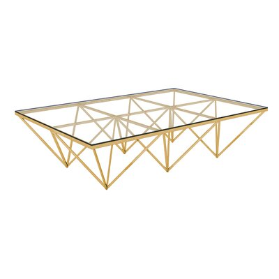 Bertram Modern Polished Metal/Glass Coffee Table