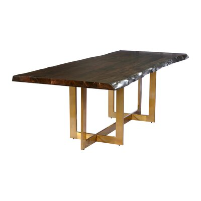 Minni Acacia Wood Slab Dining Table Size: 78 L x 39 W