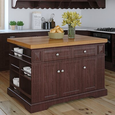 Greenwich Kitchen Island with Wood Top