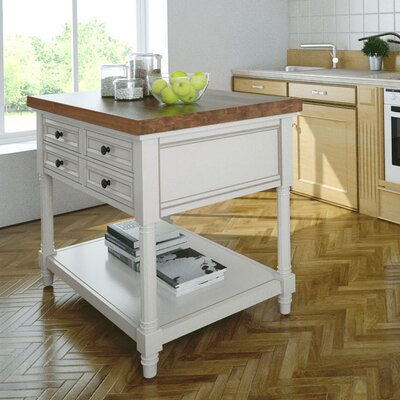 Park Slope Kitchen Island with Butcher Block Top