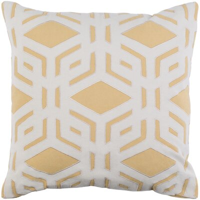 Millbrook Cotton Throw Pillow Size: 22 H x 22 W x 4 D, Color: Mustard/Ivory