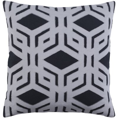Millbrook Cotton Throw Pillow Size: 20 H x 20 W x 4 D, Color: Black/Medium Gray