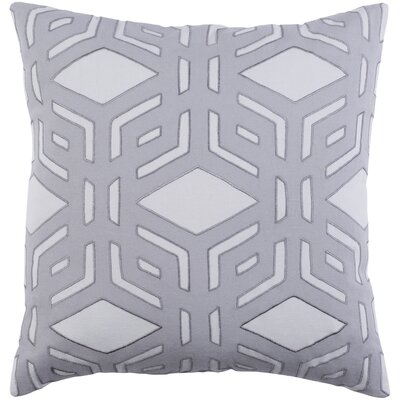 Millbrook Cotton Throw Pillow Size: 22 H x 22 W x 4 D, Color: Light Gray/Charcoal