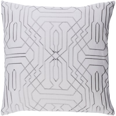 Ridgewood Throw Pillow Size: 22 H x 22 W x 4 D, Color: Medium Gray/Ivory