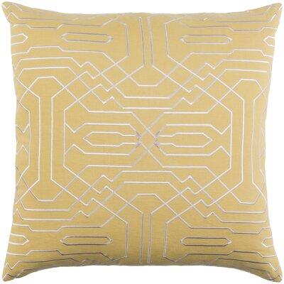 Ridgewood Throw Pillow Size: 22 H x 22 W x 4 D, Color: Mustard/Cream