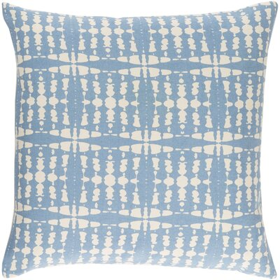 Ridgewood Cotton Throw Pillow Size: 22 H x 22 W x 4 D, Color: Sky Blue/Cream