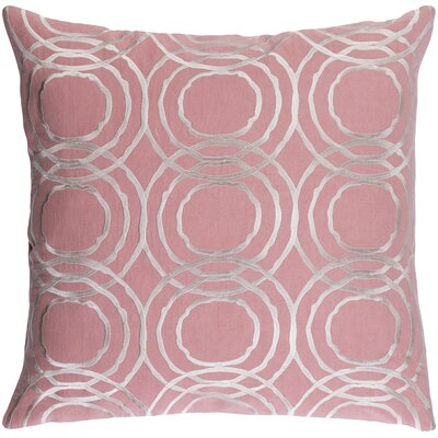 """Ridgewood Throw Pillow Size: 18"""" H X 18"""" W X 4"""" D, Color: Pink, Fill Material: Down"""