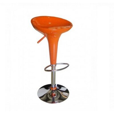 Adjustable Height Bar Stool Finish: Orange