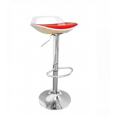 Adjustable Height Bar Stool Finish: White/Red
