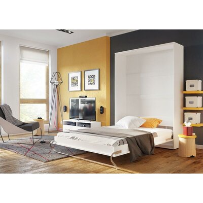 Van Siclen Murphy Bed with Mattress Size: Full XL, Color: White Gloss