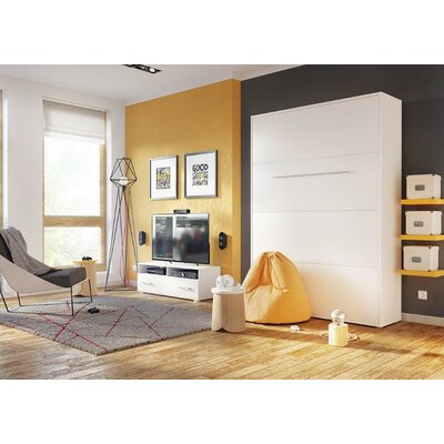 Calvin Queen Murphy Bed with Mattress Size: European Full XL, Color: White Gloss