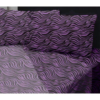 Summers Sheet Set Size: Queen, Color: Zebra Purple