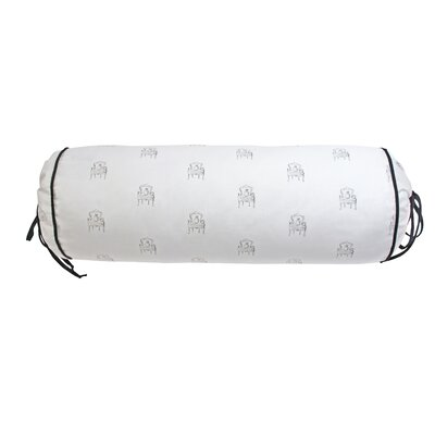 Mlle Lapin Cotton Bolster Pillow Color: Ivory/Black