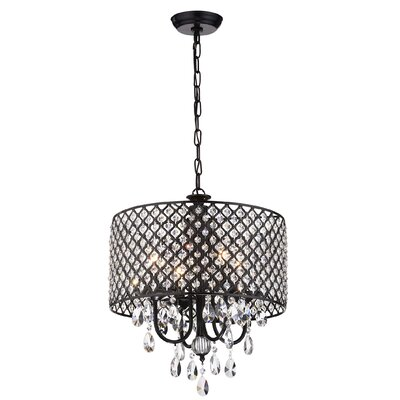 Clemence 4-Light Drum Chandelier Finish: Antique Black