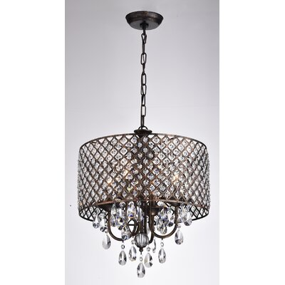 Clemence 4-Light Drum Chandelier Finish: Antique Copper