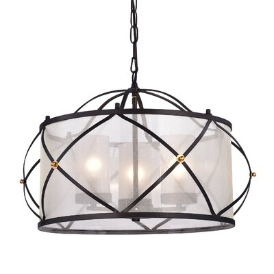 Franck Wrought Iron 3-Light Drum Chandelier
