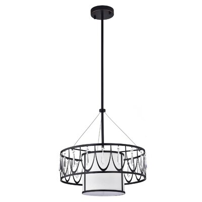 Franck Crystal 1-Light Drum Pendant