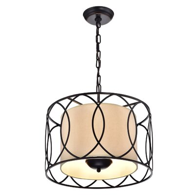 Merga Wrought Iron 3-Light Drum Pendant