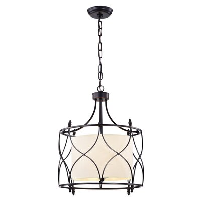 Franck Wrought Iron 3-Light Drum Pendant