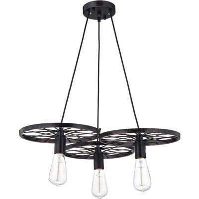 Carina Wheel Industrial 3-Light Cluster Pendant