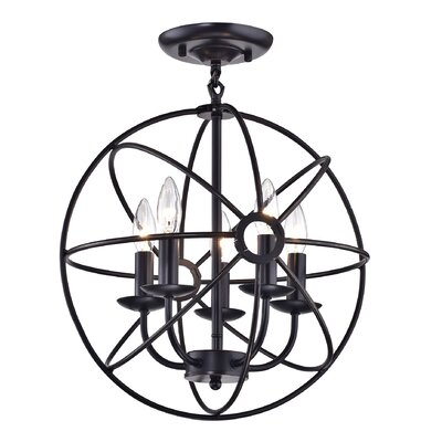 Dover Sphere Cage Globe 5-Light Semi Flush Mount