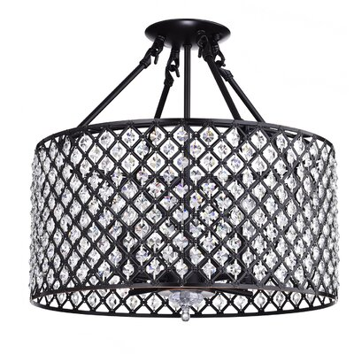 Marya Crystal Drum 4-Light Semi Flush Mount