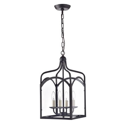 Liberty Hill Glass Lantern 4-Light Candle-Style Chandelier