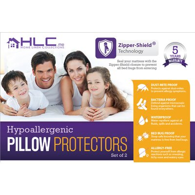 Bed Bug Proof Zippered Pillow Protector (Set of 2) Size: King