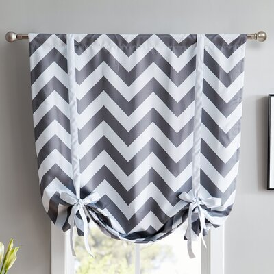 Chevron Print Blackout Tie-Up Shade Finish : Gray