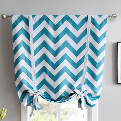 Chevron Print Blackout Tie-Up Shade Finish : Teal Blue