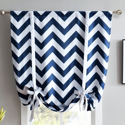 Chevron Print Blackout Tie-Up Shade Finish : Navy Blue