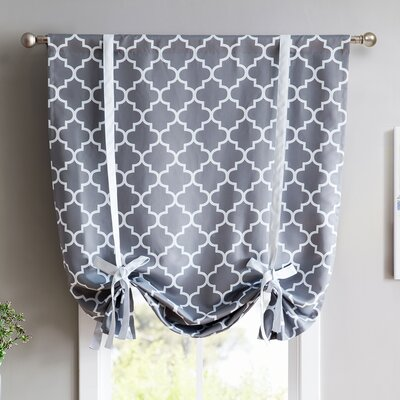Kuhlmann Lattice Print Blackout Tie-Up Shade Finish: Gray