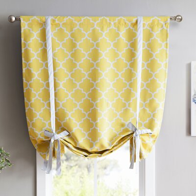 Lattice Print Blackout Tie-Up Shade Finish: Bright Yellow