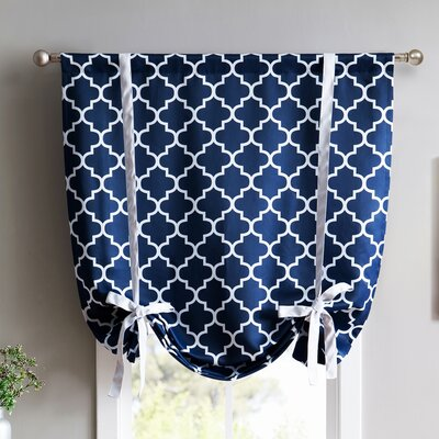 Lattice Print Blackout Tie-Up Shade Finish: Navy Blue