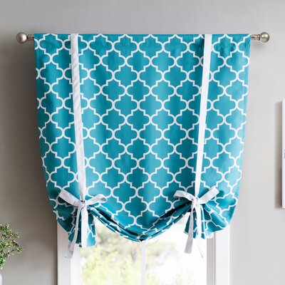 Lattice Print Blackout Tie-Up Shade Finish: Teal Blue
