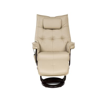 Aarti Motor Massage Manual Swivel Recliner with Ottoman Upholstery: Cream
