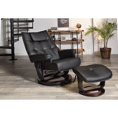 Aarti Motor Massage Manual Swivel Recliner with Ottoman Upholstery: Black