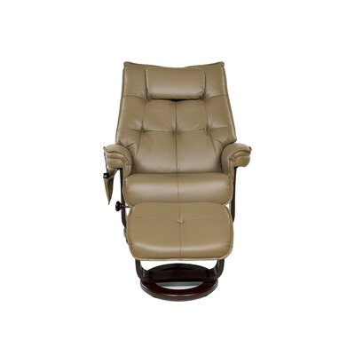 Aarti Motor Massage Push Back Swivel Recliner with Ottoman Upholstery: Mocha