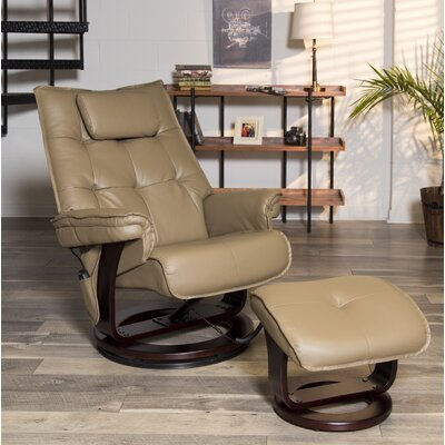 Aarti Motor Massage Manual Swivel Recliner with Ottoman Upholstery: Mocha